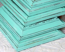 Picture  Frame Turquoise Blue Shabby Chic Vintage Hand Painted Distressed Frame Made to Order