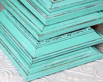 8x10 Picture Frame Turquoise Painted Distressed Frame Made to Order