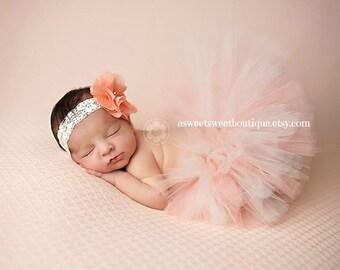 Peach And Ivory Tutu Peach And Cream Tutu Baby Tutu Baby Girl Photo Prop Newborn Tutu Baby Girl Tutu Newborn Photo Prop Tutu And Headband