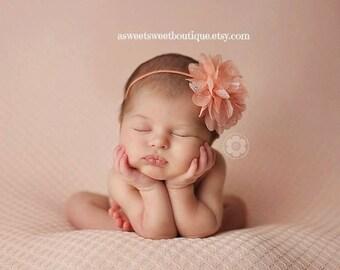 Peach Headbands Baby Girl Headbands Baby Bows Baby Girl Bows Newborn Headbands Baby Headband Chiffon And Lace Headband Newborn Photo Prop