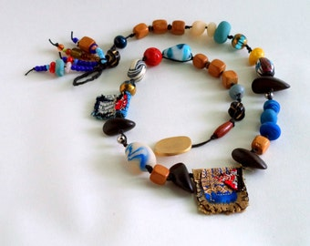 Textile Art Chunky Wood Clay Glass Bead Collage Art Statement Necklace Red Blue Gold Brown Black
