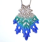 Lace Statement Necklace in Blue and Green Ombre