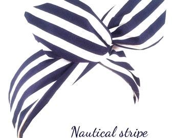 Navy blue & white stripe nautical sailor PIN UP wire ROCKABILLY Headband Hair Wrap