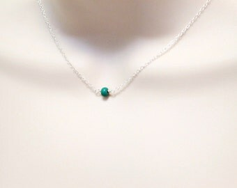 Turquoise Necklace, Minimalist Necklace, Delicate Necklace, Dainty Necklace, Tiny Silver Necklace, Single Stone Necklace