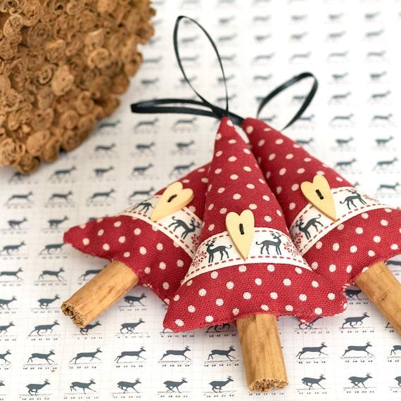 Natural Christmas Decor Reindeer Ribbon Cinnamon Tree Fragrant Christmas Ornament