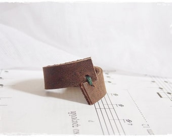 Elven Leather Ring, LARP Wood Elf RIng, Irish Woodland Leather Band, Nordic Leather Ring, Tribal Boho Ring, Leather Celtic Ring, Wiccan Ring
