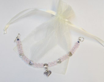 Faceted Pink Crystal Bead Bracelet with Tibetan Silver Hearts & Toggle Clasp