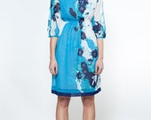 Japanese Vintage Dress // 70s Dress// Glass Cloud Dress// Blush Blue Japan Chiffon Small