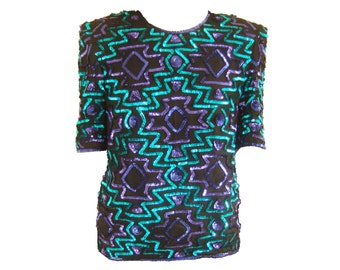 80s Frank Usher aztec sequin top black silk turquoise blue pattern / Small