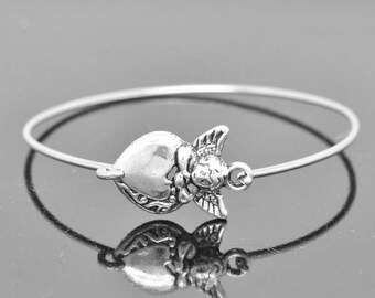 Angel Bangle,  Sterling Silver Bangle, Angel Bracelet,  Angel Jewelry, Sterling Silver Bracelet, Stacking Bangle