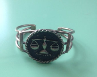 Unique Vintage HUGE Sterling Silver Bracelet Cuff Zodiac Libra and Scales of Justice Stunning for any occasion