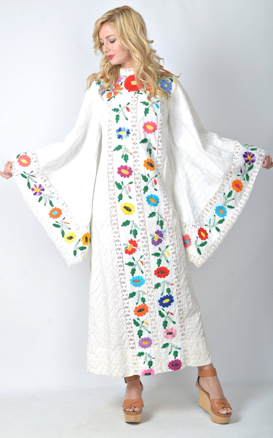 Vintage 70s Mexican Embroidered Hippie Wedding Dress Angel Slv