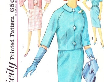 1960s Mad Men Sheath Dress and Raglan Sleeve Jacket Vintage Pattern, Simplicity 4768, Slim Chic Jackie Kennedy Camelot , Buttons and Loops