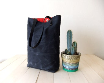 Waxed Canvas Tote in Black - Black Leather Handles - Red Lining - Shoulder Bag - Handbag - Men Bag - Men Tote