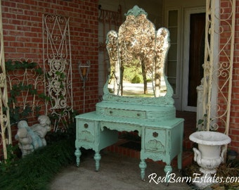 BREATHTAKING VANITY Custom Order An Antique Dresser Shabby Chic Painted Distressed Restored Bedroom Bathroom Furniture