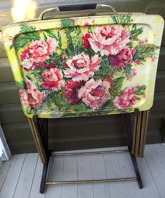 Vintage Tv Trays Metal Folding Stand Table Set Of Four