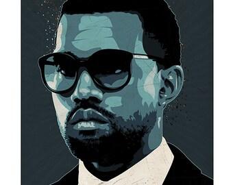 Kanye West pop art print - Music Rapper Singer - print home wall decor
