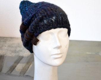 Fancy Knit beanie for Elf winter hat felt decoration crazy indigo brown blue wearable art woman unique asymmetrical small cap funny dark 163