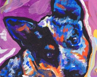 Australian Cattle Dog art print modern Dog art blue heeler pop dog art bright colors 12x12 inch