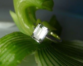 Sterling Solitaire Ring, Emerald Cut Solitaire Ring, Herkimer Diamond, Sterling Silver, Diamond Alternative, Conflict free engagement ring