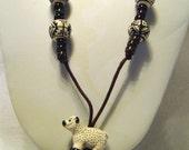 White Sheep and Handpainted Peruvian Beads Cord Necklace /29 sheep ram ewe lamb white brown