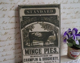 """Picture / Sign. """"Mince pies"""". Vintage style. 1/12th scale for dollhouses"""
