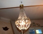 Antique French crystal prism bronze chandelier lighting fixture ceiling light Chateau boudoir prism lamp w facetted lustres beads