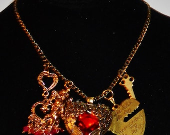 """SALE Steampunk Red Acrylic Large Heart w/ Wings, Brass Inscribed Heart & Key, Goldtone Cupid, Bollywood Hearts on 26"""" Brass Chain Necklace"""