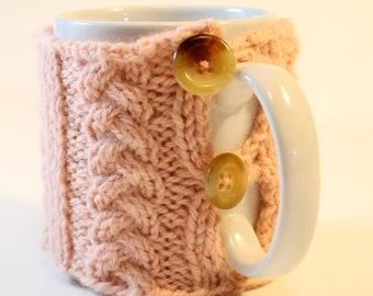 Peach Coffee Mug Cozy with Braided Cables