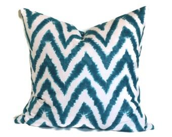 Chevron Decorative Pillow Cover 18x18 20x20 22x22 Zig Zag Accent Pillow Throw Pillow Turquoise & White