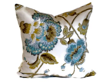 Duralee Jacobean Decorative Pillow Throw Pillow Pillow Cover 18x18 20x20 22x22 or 14x20 Lumbar Pillow Accent Pillow Aqua Blue Mocha & Tan