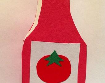 Handmade Kawaii Ketchup Bottle Card - Cardstock