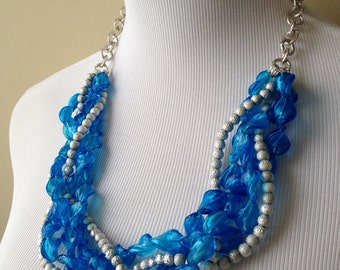 Blue Glass and Silver Metal Bead Necklace - Bianca Necklace - Blue and Silver Torsade Statement Necklace - Bianca Collection