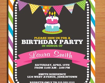 Rainbow Cake and Banner / Customized Printable Birthday Party Invitation Cards DIY