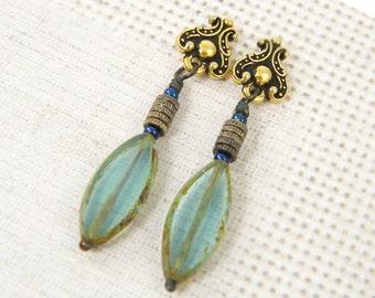 Aqua Earrings - Glass Bead Gold Post Tribal Boho Dangle |AB3-5
