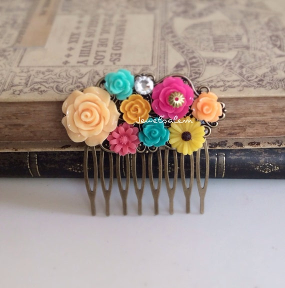Turquoise Fuchsia Wedding: Wedding Hair Comb Hot Pink Turquoise Fuchsia Orange By