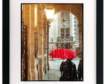 FIne Art Photography, Paris Photo, Paris Art Print, Paris Street, Red Umbrella, Large Paris Photography
