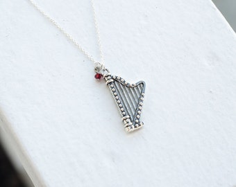 Harp Music Necklace or Earrings- 925 Sterling Silver or silver tone Chain  -Modern Style Jewelry- Stocking Stuffer - Custom Birthstone Color