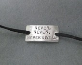 NEVER, NEVER, NEVER Give Up Wrap Bracelet - Running Jewelry - Never Quit Jewelry - Nickel Silver Pendant on 3 ft of Micro Fiber Suede - Shoe