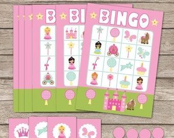 Princess Bingo Printable Birthday Party Game - Princess Birthday Game- Princess Bingo - Fairytale Bingo - Printable PDF - Instant Download