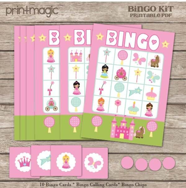 Princess Bingo Printable Birthday Party Game Princess