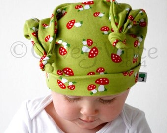 Baby hat instructions pdf pattern childrens stretchy jersey beanie sewing instructions floppy double knot toddler size newborn 3 6 12 months