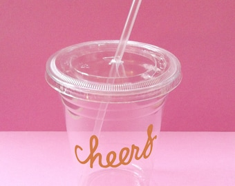 12 CHEERS Party Cups, Lids, and Plastic Straws - 12 oz or 16 oz - Metallic Gold Decal - Wedding, Birthday, Baby Shower, Party