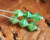 Green bicones, Czech Glass beads, mixed color - 6mm - 30Pc - 1115