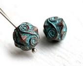 SALE PRICE Ornament greek beads, Spirals, Patina on copper, Rhombus beads, Lead Free, 10mm - 2Pc - F139