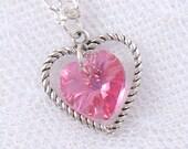 Rose Pink Swarovski Crystal Heart Necklace - October Birthstone - Pink Tourmaline - Silver Heart Charm - Spring - Summer - Gifts under 15