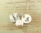 Mommy necklace - Sterling silver hand stamped necklace with freshwater coin pearl, name necklace