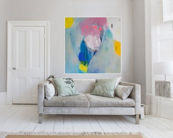 "Large blue, pink and yellow abstract Giclée print of original ABSTRACT painting ""Everybody's Mixture"""