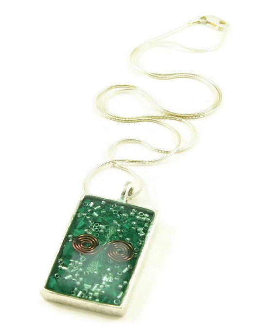 Orgone Energy Pendant - Antique Silver Rectangle w/Malachite Gemstone - Unisex Necklace - Men's Necklace - Energy Jewelry - Artisan Jewelry