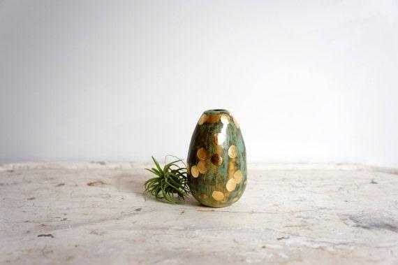 mottled green and gold mini bud vase
